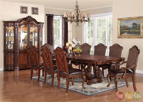 traditional dining room sets luciano traditional medium wood formal dining set with