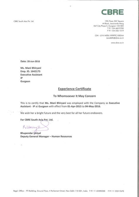 work experience letter cbre work experience certificate