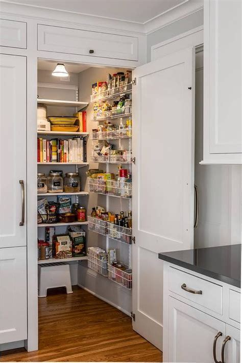 Kitchen Pantry Cabinets with Door Shelves   Transitional