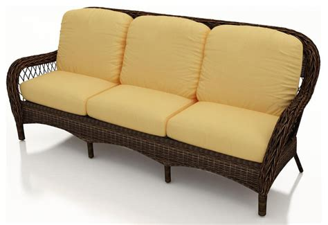 leona wicker patio sofa canvas wheat cushions