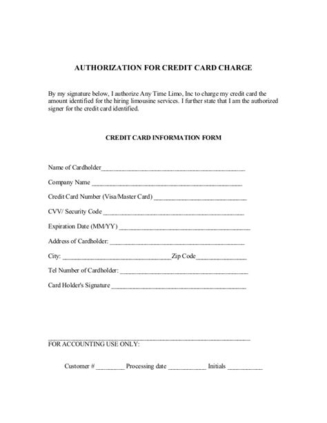 cc auth form reservation contract and credit card authorization form