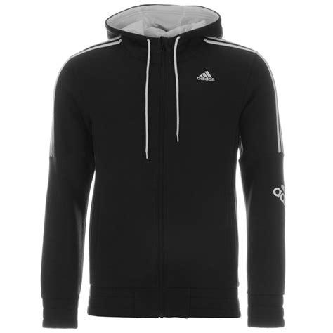 adidas sweater black and white adidas 3 stripe logo zip hoody mens black white