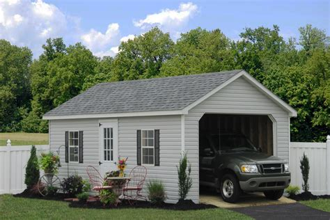 one car garage prefab garage packages from sheds unlimited in lancaster