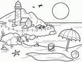 Coloring Beach Printable Pages Sheets Shore Lighthouse sketch template