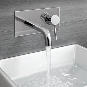 Gladstone Wall Mounted Modern Chrome Lever Mixer Basin Tap ...
