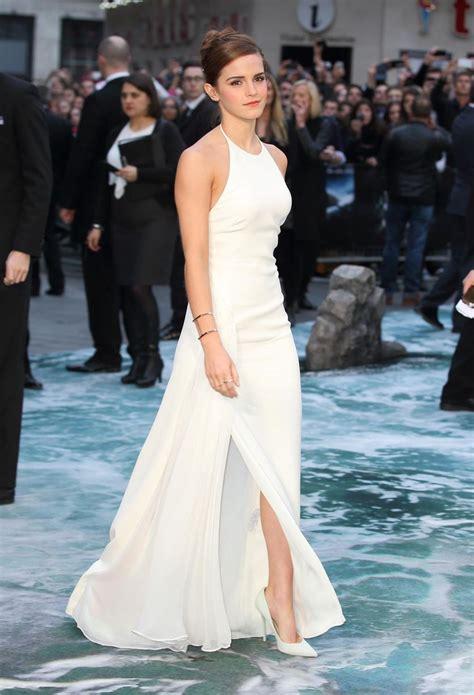 Emma Watson Leg Bombs Glamorous White Gown