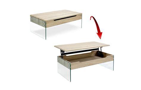 table basse bois clair plateau relevable pied verre nacka