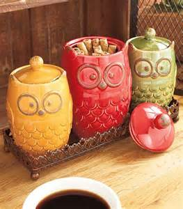 new 8 pc autumn owl countertop collection canisters w tray measuring cup set ebay - Owl Canisters For The Kitchen