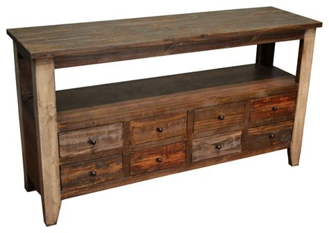 rustic tv console table rustic sofa table with 8 drawers farmhouse console