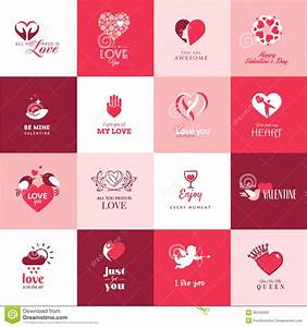 Set Of Love And Romantic Icons For Valentines Day Stock ...