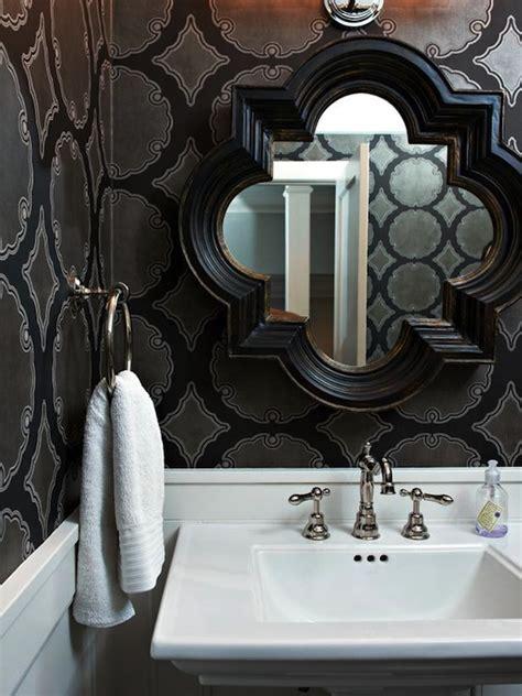 powder room mirror powder room contemporary with bathroom black quatrefoil mirror contemporary bathroom hgtv