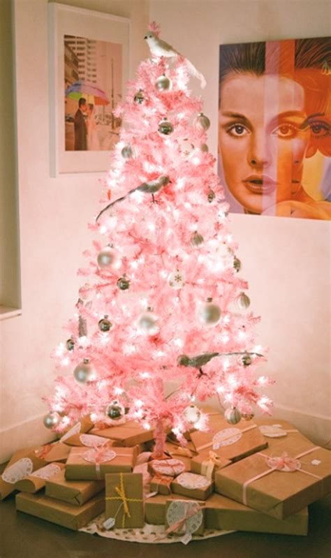 cute  beautiful pink christmas tree decorations