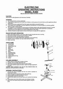 Electric Fan Operating Instructions Model  R