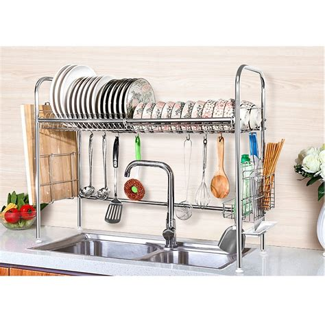 2 tier shelf stainless steel dish bowl drying rack over