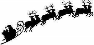 Santa Sleigh Silhouette PNG Clipart Image | Gallery ...