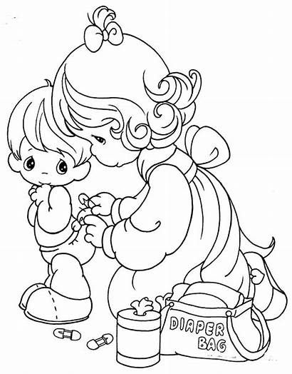 Coloring Pages Diaper Precious Moments Changing 為孩子們的著色頁