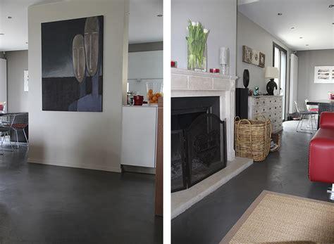 cuisine bois gris maison récente dider au mont d or beton cire lyon