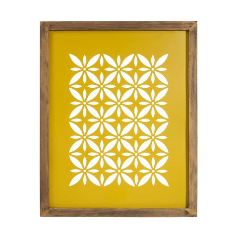 tableau en bois  metal jaune    cm vintage cut maisons du monde
