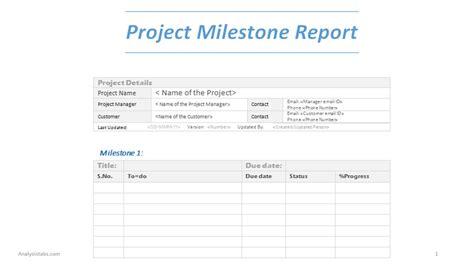 project milestone report word template  project