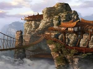 Asian Architecture Pictures by Paintings Clouds China Mist Buildings Realistic