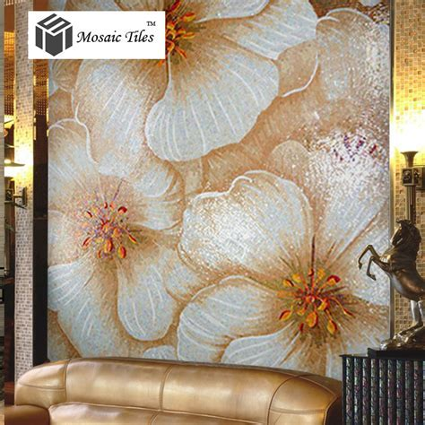 TST Mosaic Murals Beautiful Big White Pink Flower Home