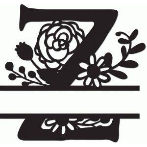 silhouette design store search designs floral split monogram  abeceda