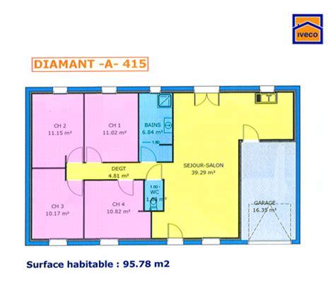 plan villa plain pied 4 chambres plan de maison individuelle plain pied