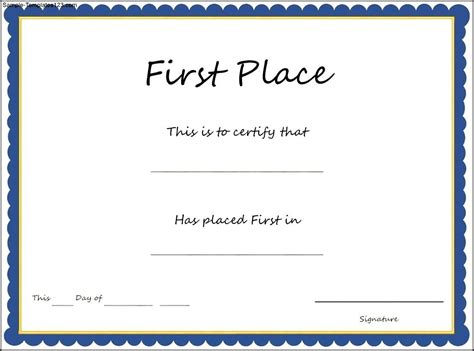1st Place Certificate Template Free by 29 Images Of Place Award Template Bosnablog