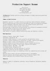 resume production support engineer resume sles production support resume sle