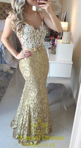 gold lace spaghetti strap backless mermaid lace slim dress