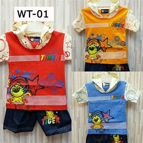 setelan pakaian balita kode wt 01 motif tiger varian