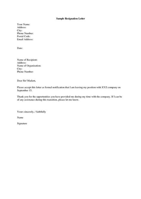 simple resignation letter format ideas