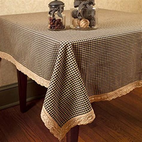 "Primitive Country 54"" BLACK TAN GINGHAM LACE TABLECLOTH"