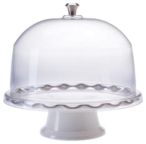 white cake stand  dome scalloped edge design
