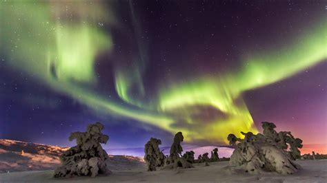 northern lights aurora borealis  lapland finland time