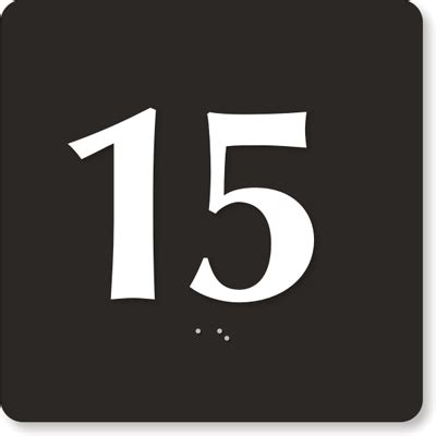 Engraved Door Sign with Number '15' - Stock Engraved