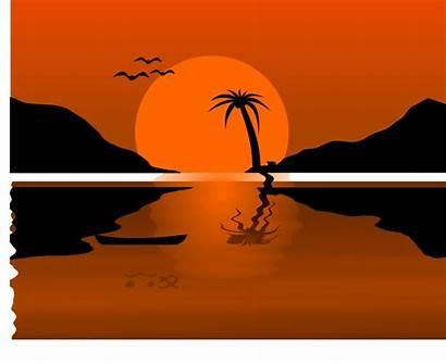 Sunset Clipart Clip Palm Svg Tree Beach