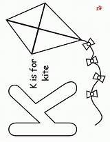 Kite Coloring Preschool Preschoolers Template Az Popular Templates sketch template