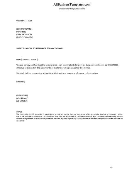 formal notice terminate tenancy    tenant