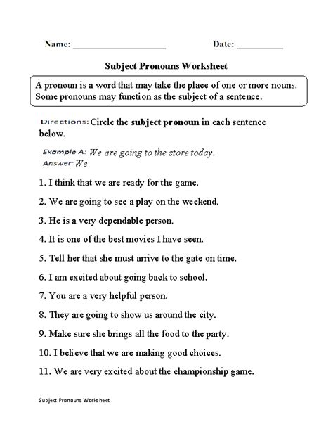 pronouns worksheets subject and object pronouns worksheets