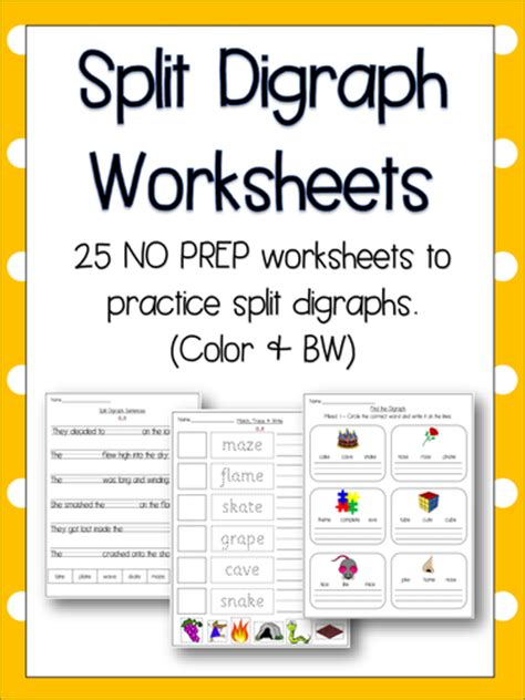 split digraph worksheets literacy phonics 25 no prep worksheets by
