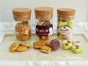 Miniature Cookies Biscuits Glass Cookie Jar Doll Fake