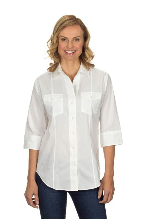 dress blouse heusen 13v0367 womens 3 4 sleeve pinpoint stretch solid