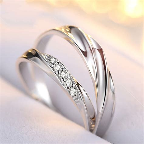 korean version of the simple and elegant s925 silver couple ring couple rings