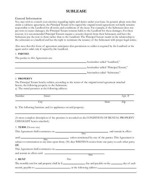 sublease template sublease contract 7 free word pdf documents free premium templates