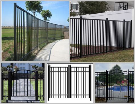 residential black wrought iron fence panels  flat top