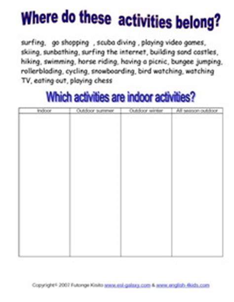 esl hobbies activities holiday fun english vocabulary