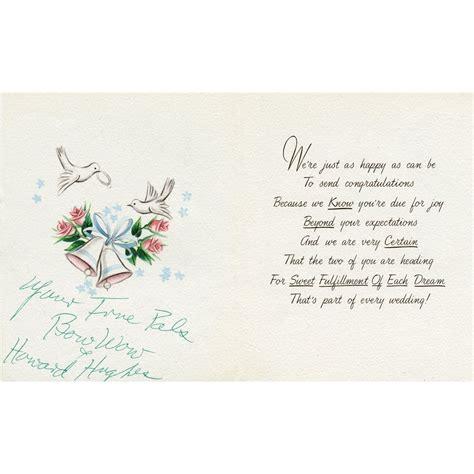 howard hughes wedding congratulations card  johnny