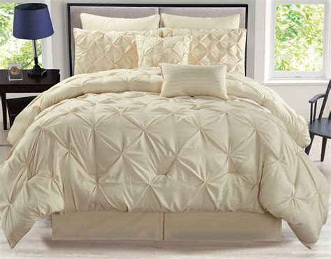 pinch pleat comforter 8 rochelle pinched pleat ivory comforter set