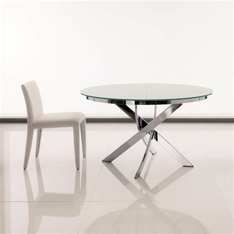 table de cuisine ronde en verre pied central table ronde en verre design chromé bontempi casa sur cdc